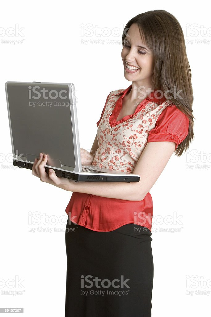Lachen laptop Mädchen Lizenzfreies stock-foto