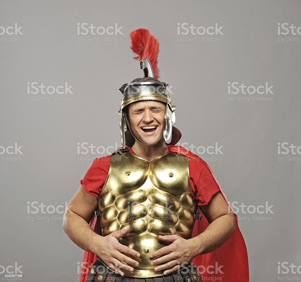 Laughing leagionary soldier royalty-free stock photo