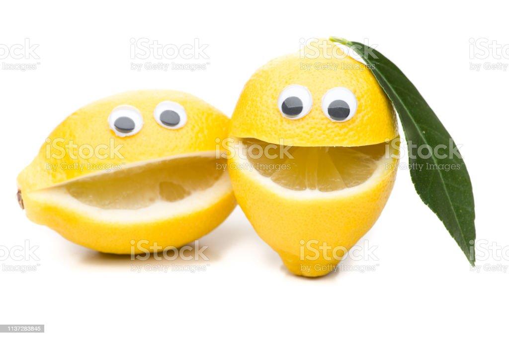 Lachende Zitronen-2 ungleiche Geschwister - Lizenzfrei Auge Stock-Foto
