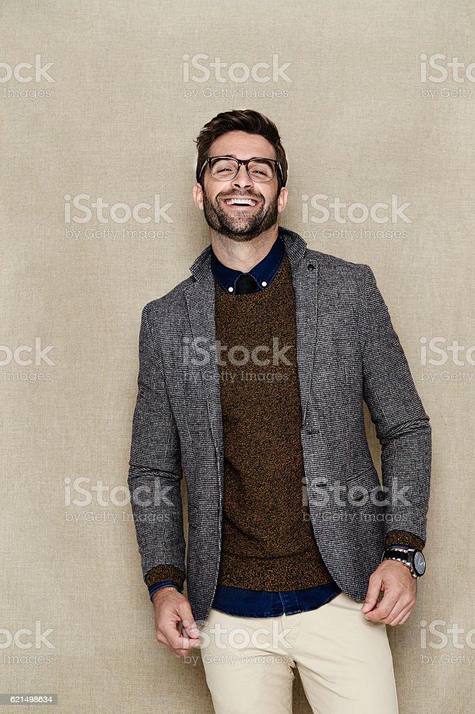 Laughing man in jacket, portrait photo libre de droits
