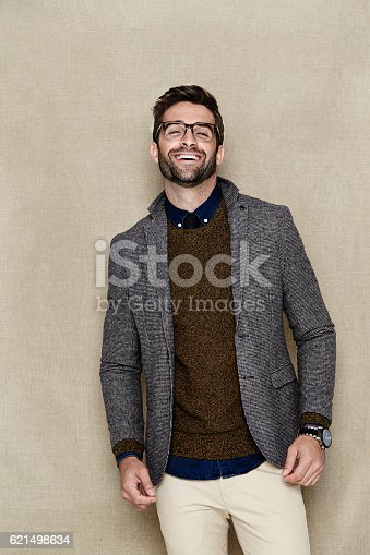 649754038 istock photo Laughing man in jacket, portrait 621498634
