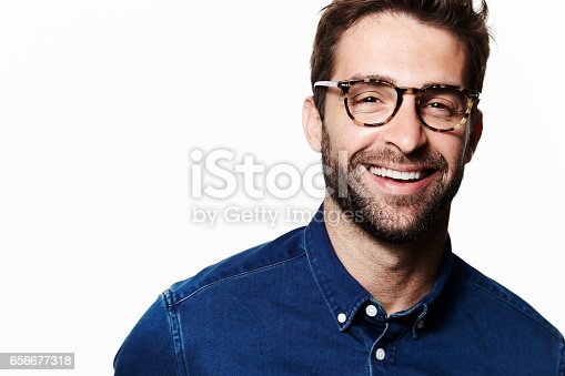 Laughing man in spectacles, portrait