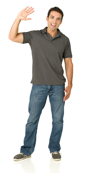 Laughing Man Waving Hand Stock Photo - Download Image Now ...