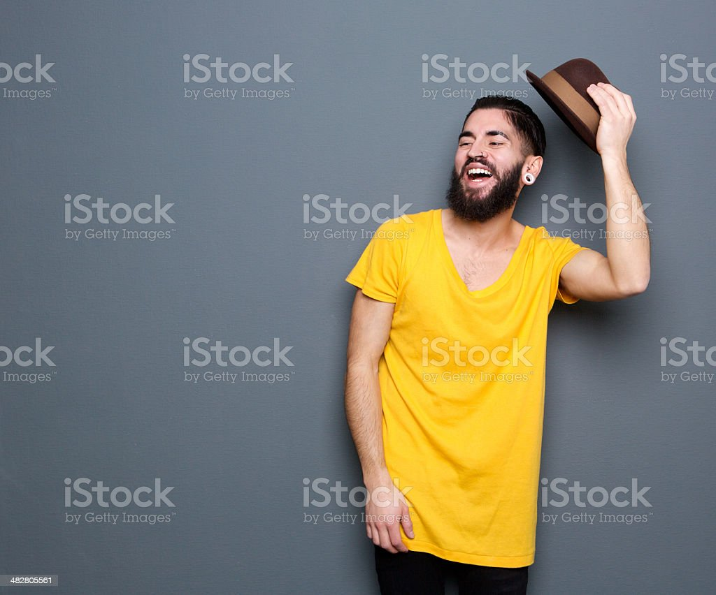 Laughing man with beard stock photo