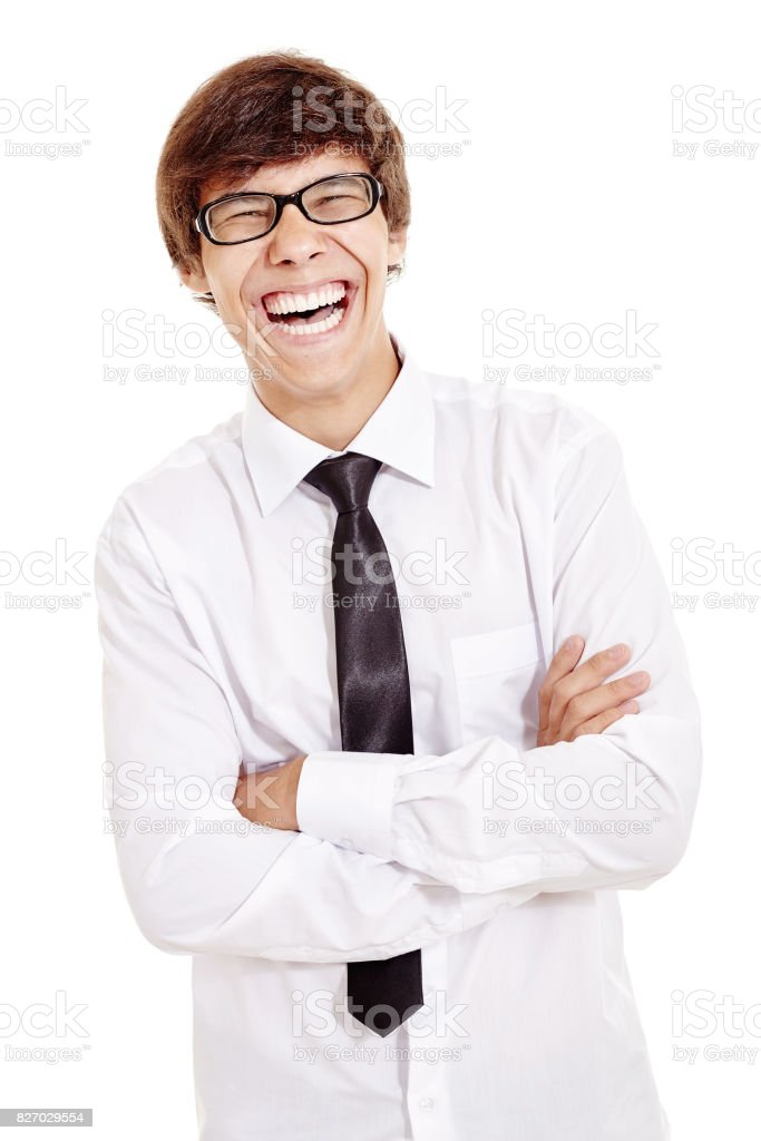 Laughing man with crossed arms stock photo