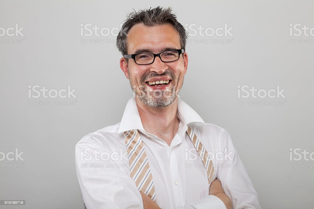 Laughing manager stock photo