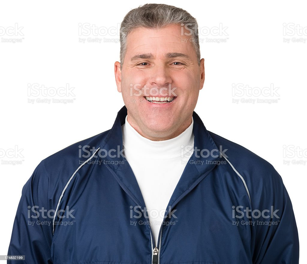 Laughing Mature Man In Windbreaker stock photo
