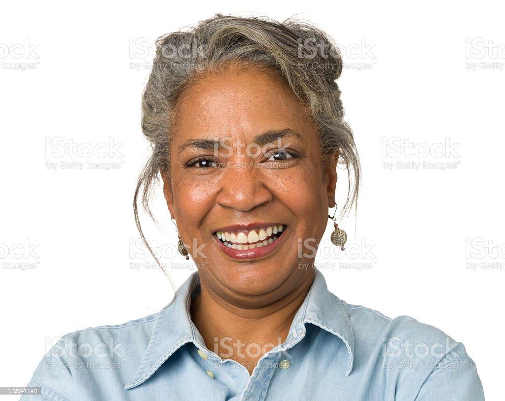 Laughing Mature Woman Close-up Portrait stock photo