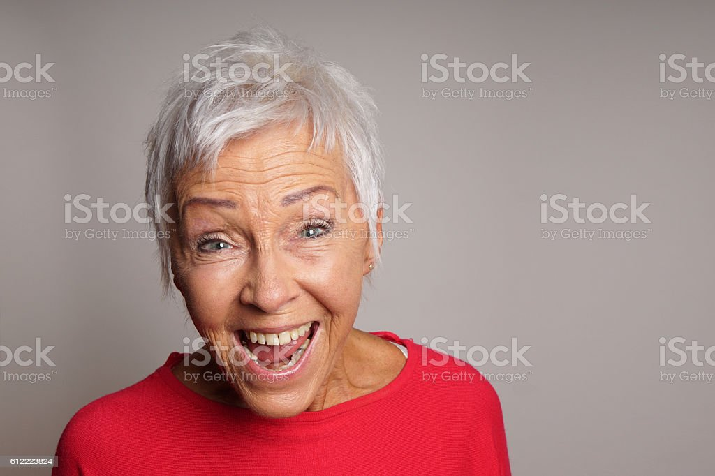 laughing mature woman in her sixties – Foto