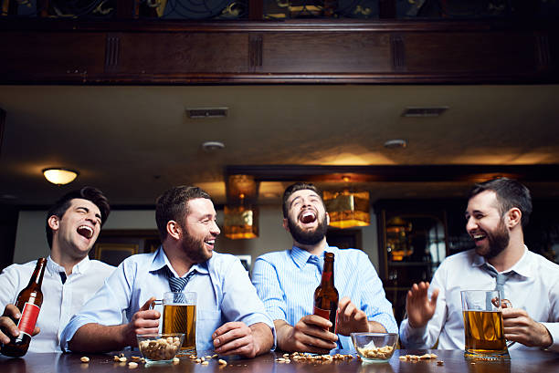 Laughing men stock photo