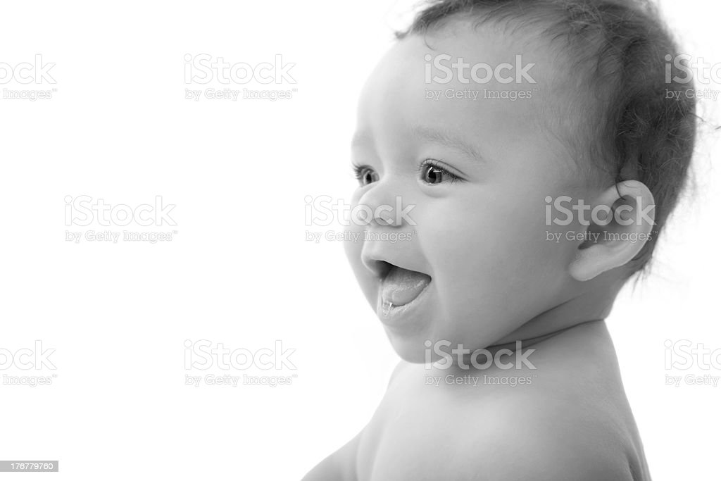 Laughing Mixed Race Baby Girl royalty-free stock photo