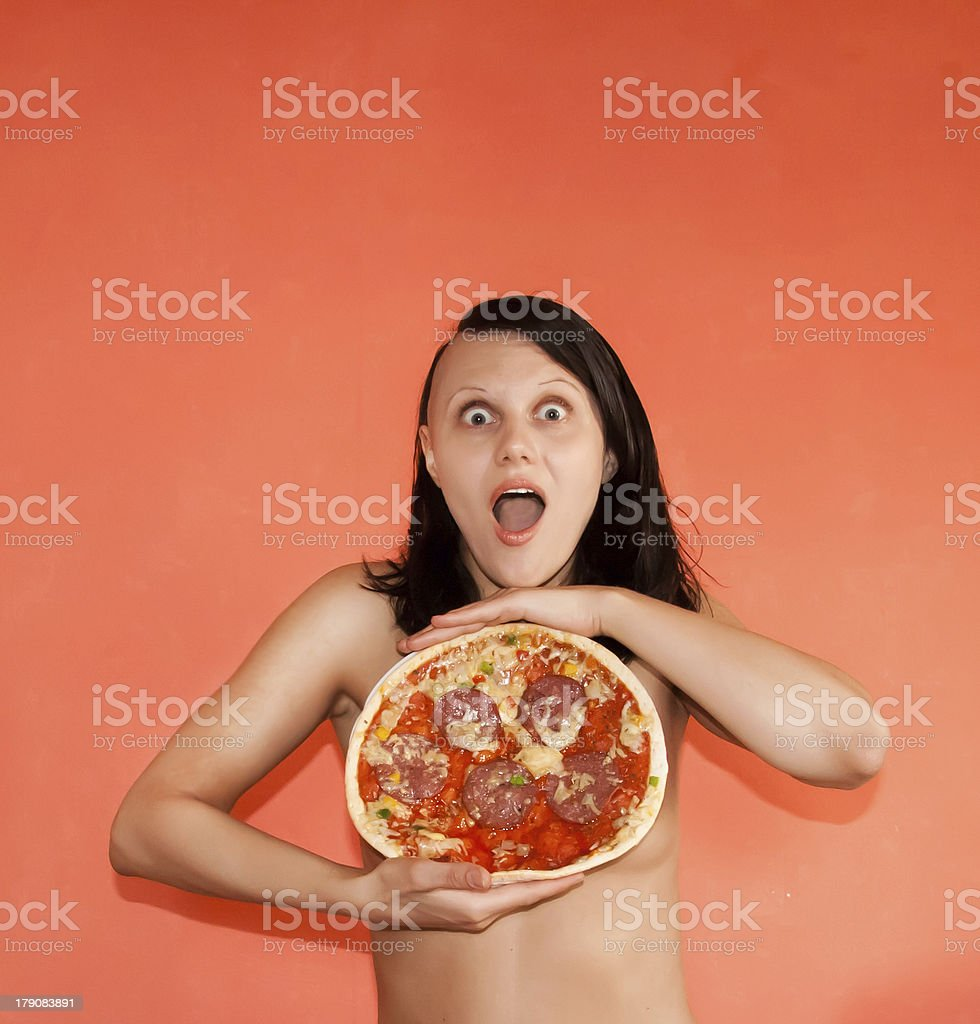 cheese pizza nude laughing nude woman with pizza royalty-free stock photo
