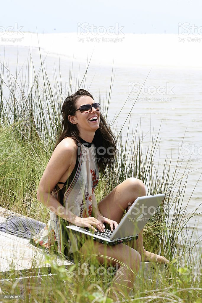 Laughing on the dock at bay royalty-free stock photo