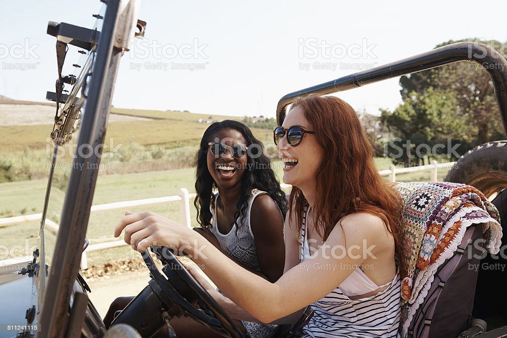 Laughing over getting lost stock photo