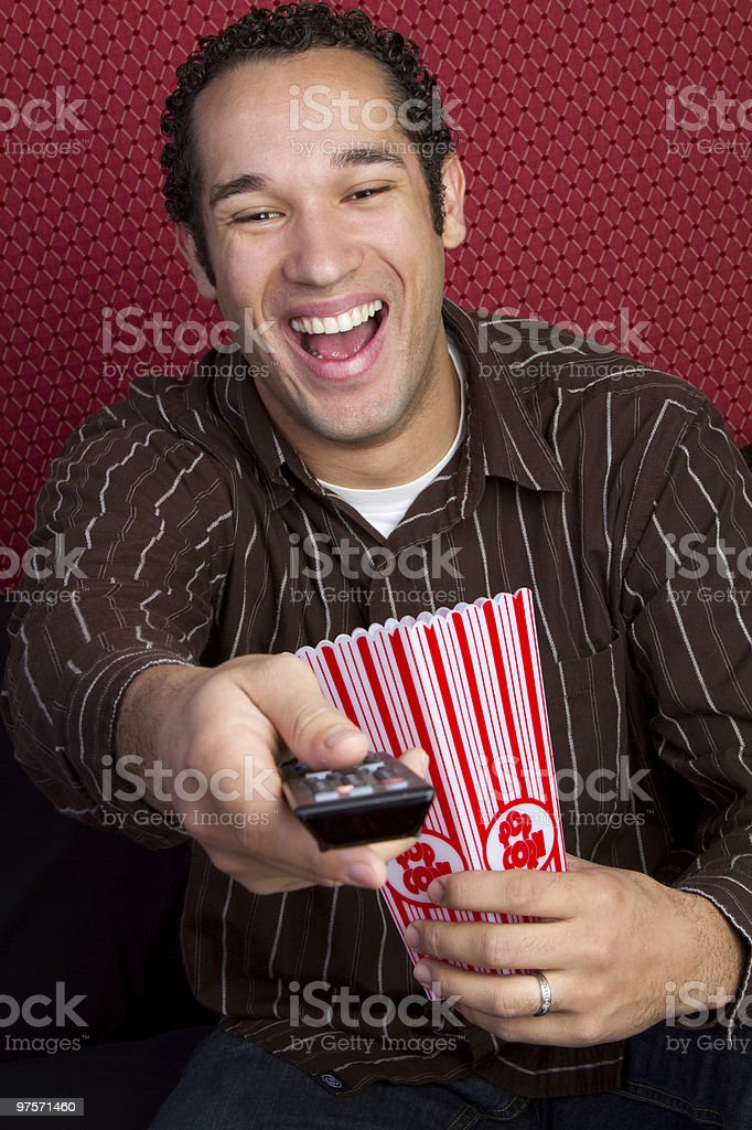 Laughing Popcorn Man royalty-free stock photo