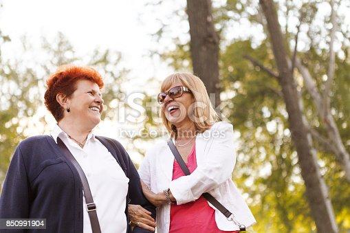 istock Laughing seniors walking in public park 850991904