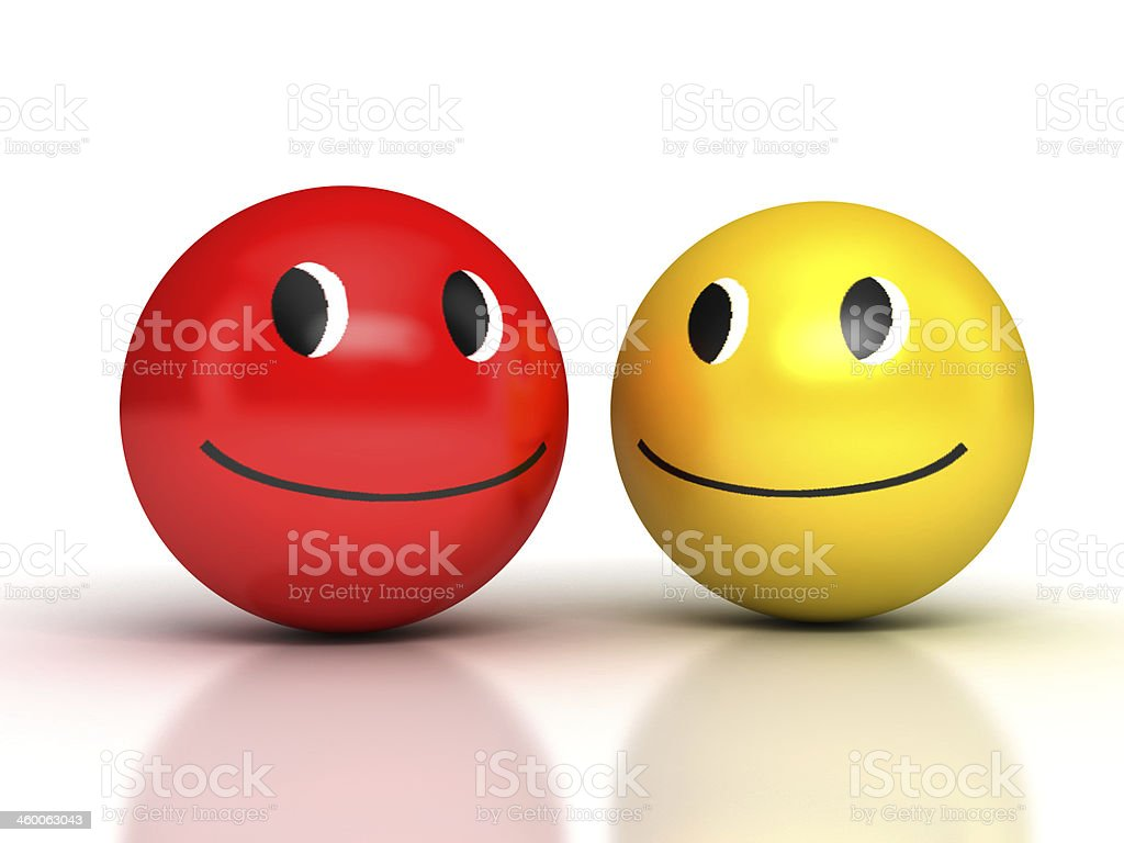 Laughing Smileys over white stock photo