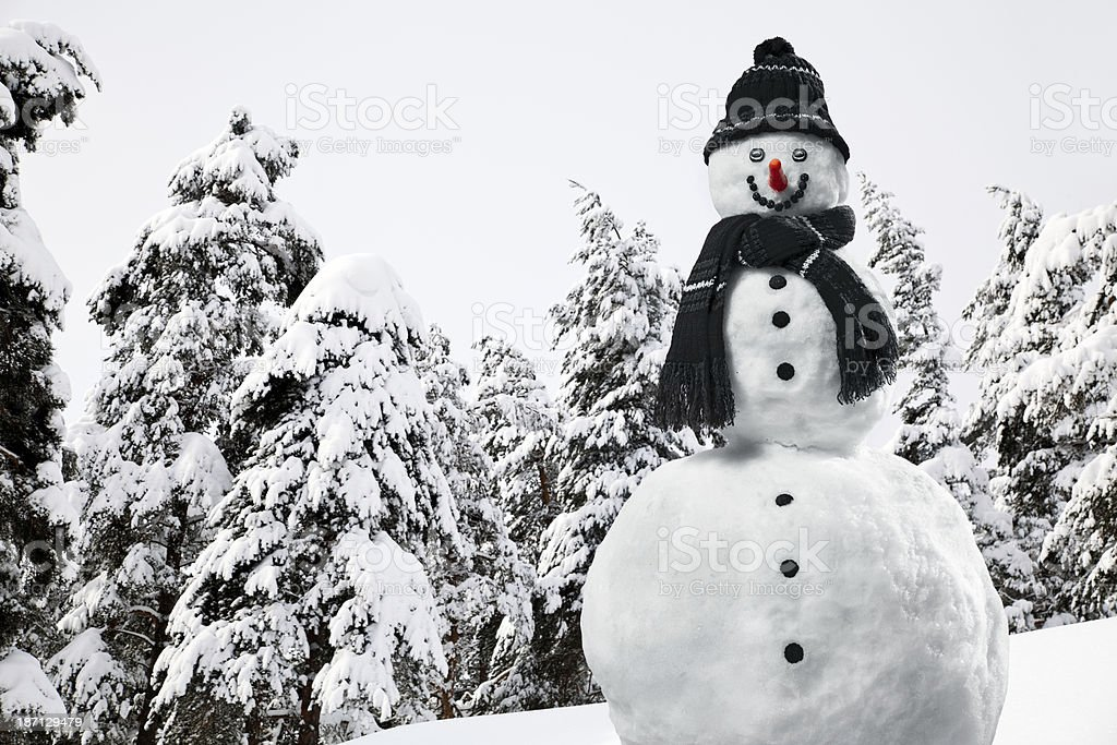 Laughing Snowman royalty-free stock photo