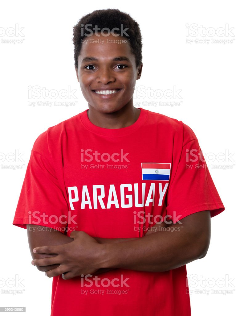 Laughing sports fan from Paraguay royalty-free stock photo