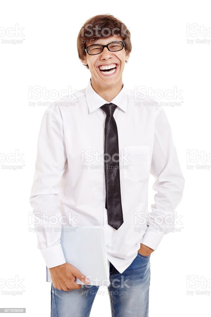 Laughing student with books stock photo