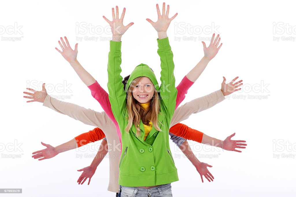Laughing teenage girl and many arms behind her. royalty-free stock photo