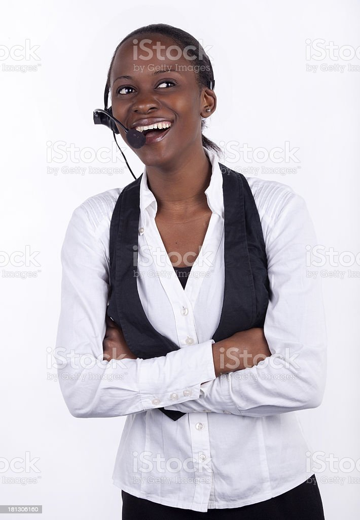 Laughing telephonist royalty-free stock photo