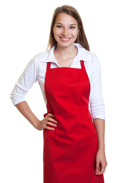 laughing waitress with red apron - apron stock pictures, royalty-free photos & images