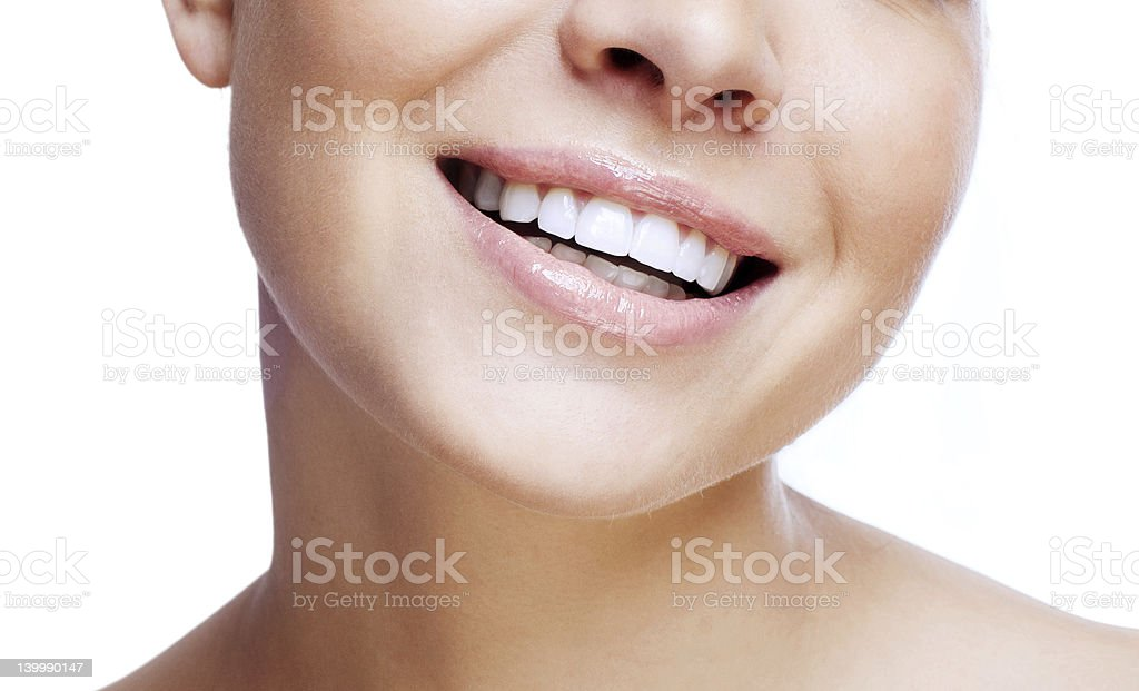 Laughing woman mouth royalty-free stock photo