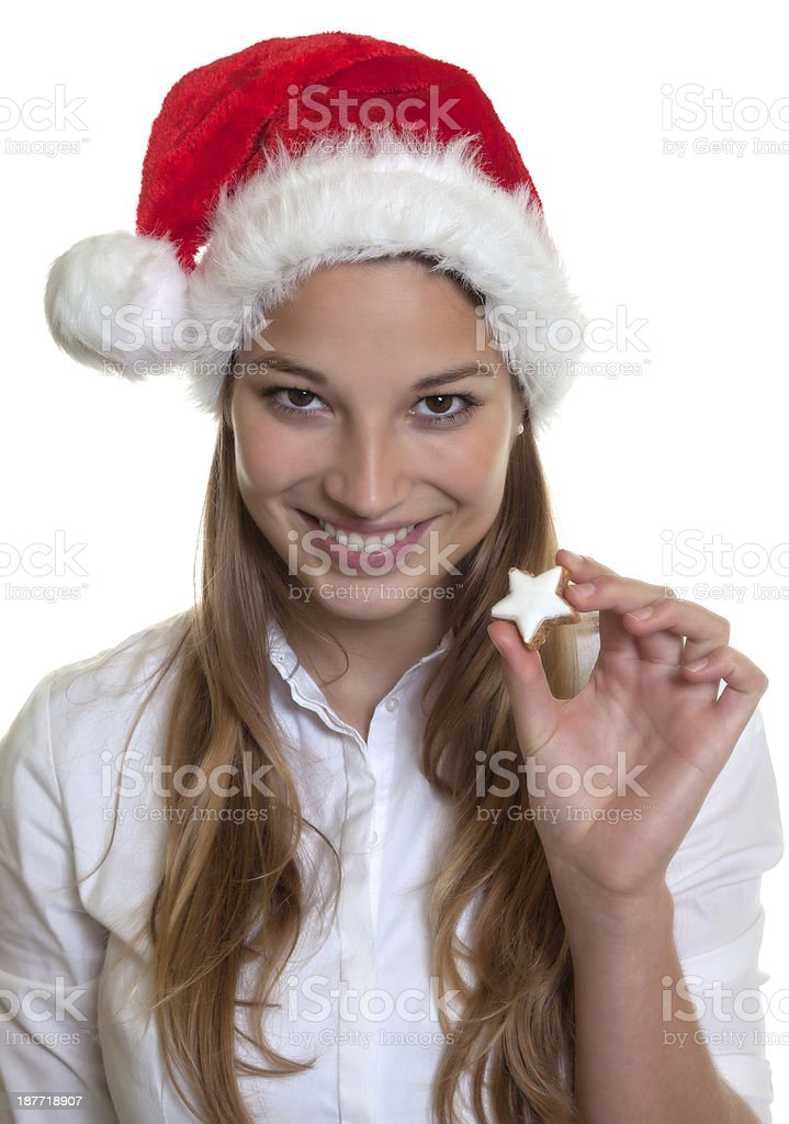 Laughing woman showing christmas cake royalty-free stock photo