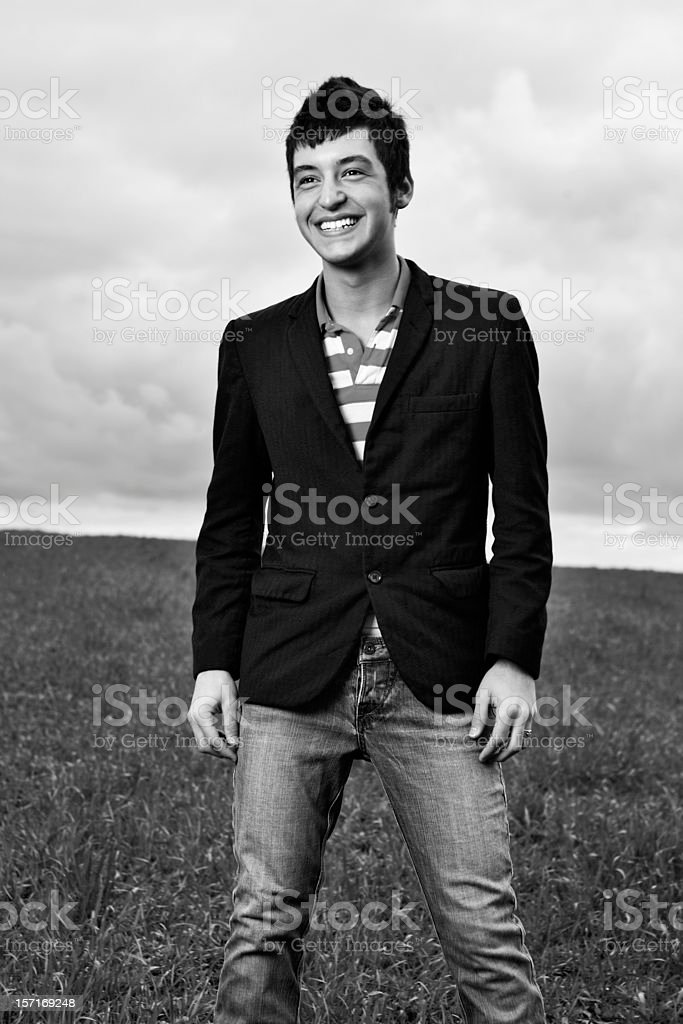 Laughing Young Man Black and White. royalty-free stock photo