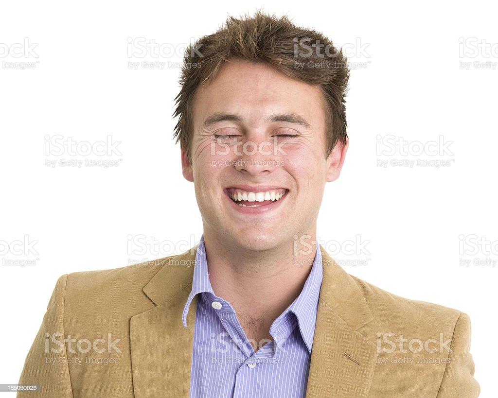 Laughing Young Man Headshot royalty-free stock photo