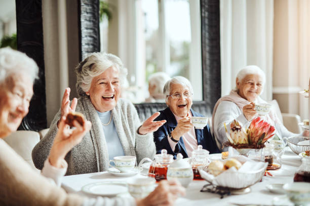 Laughter and friendship, important ingredients in the recipe of life stock photo