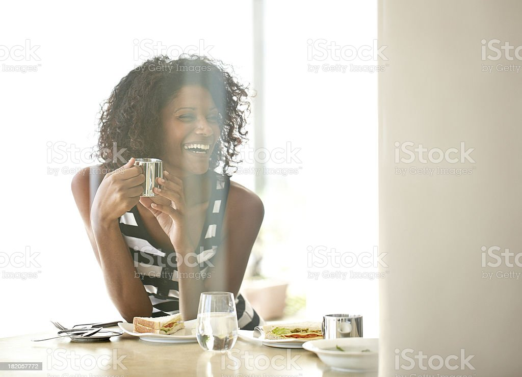 Laughter at lunchtime royalty-free stock photo