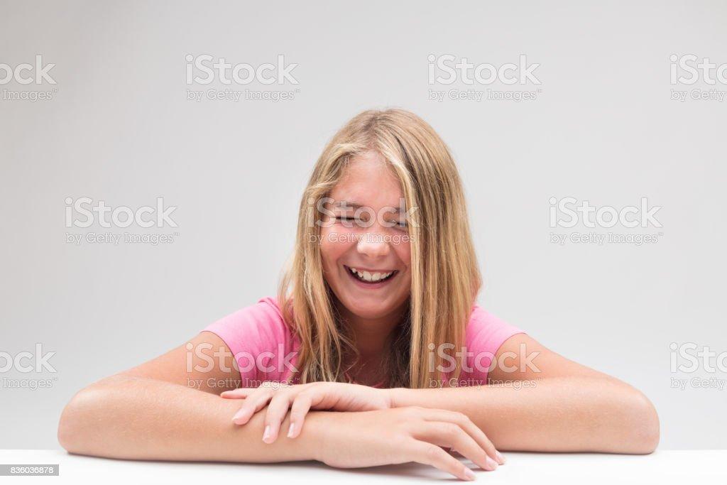 laughter explosion little girl portrait stock photo