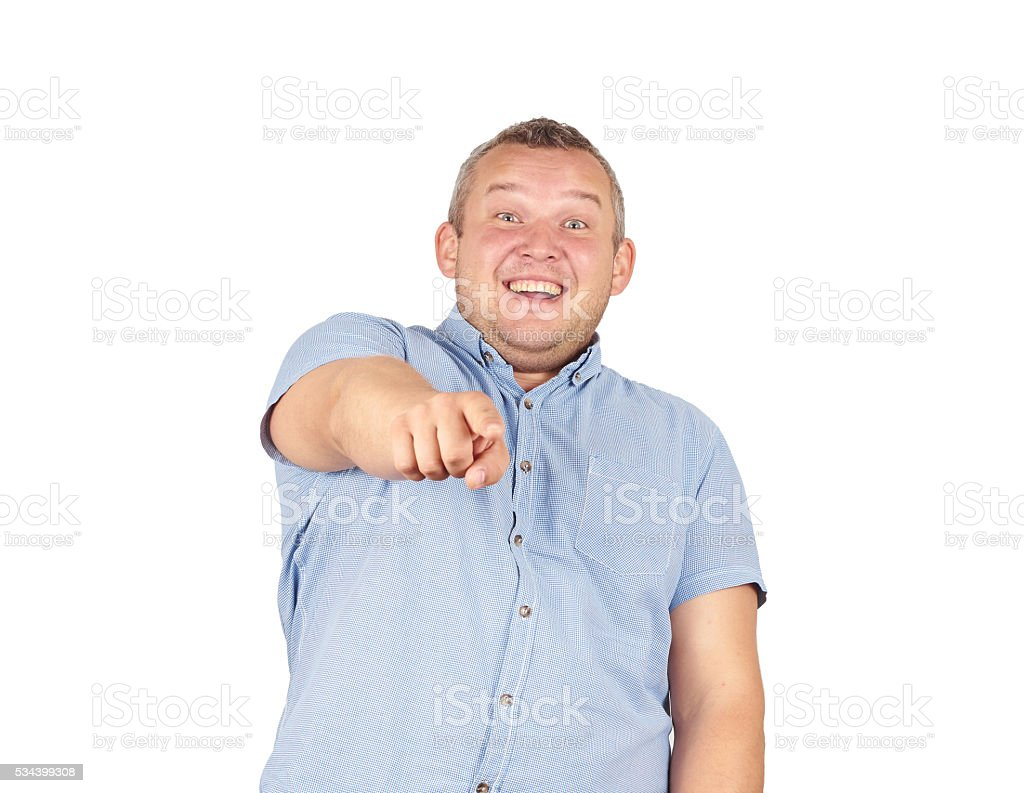 Laughter fat man. Haughty kind person. stock photo