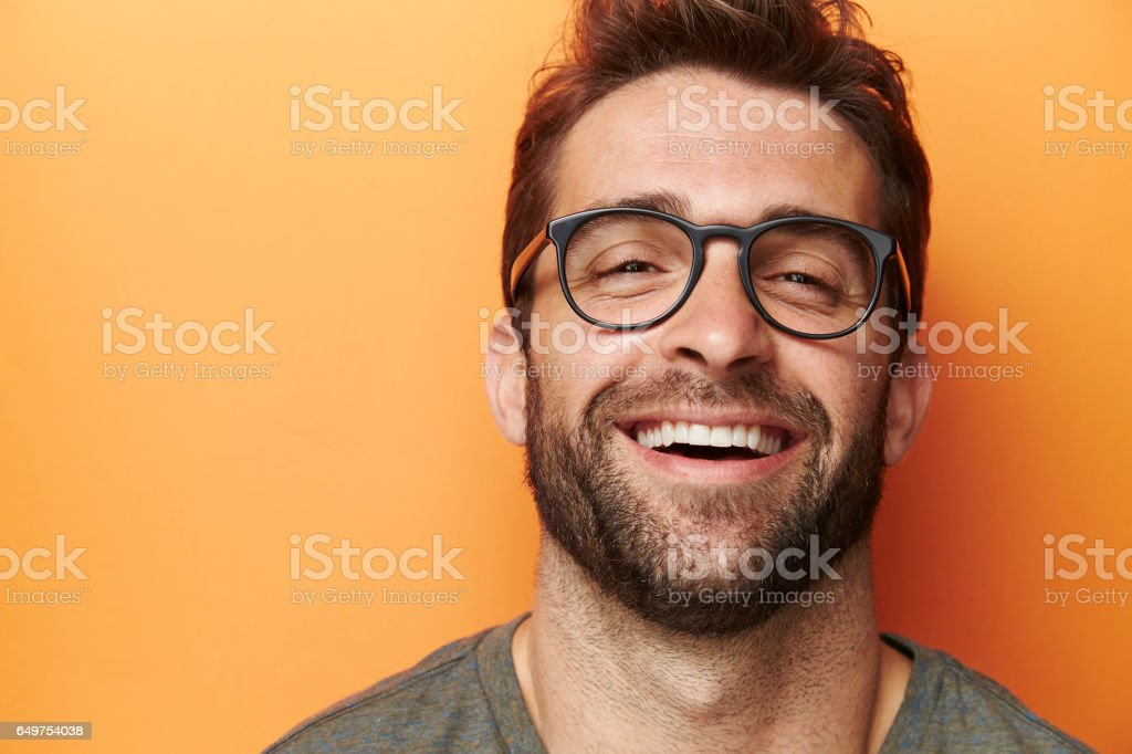Laughter man stock photo