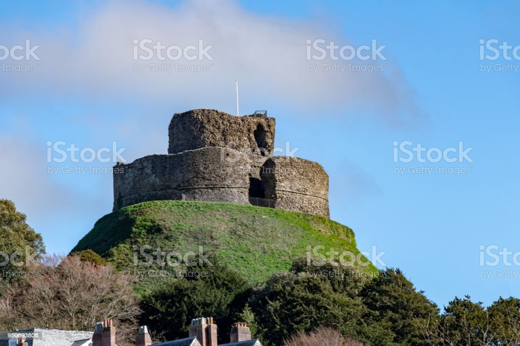 Launceston Castle, hill fort in Cornwall stock photo