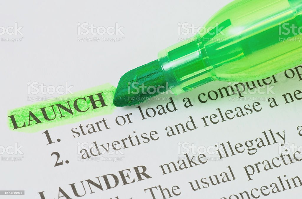 launch highligted in dictionary royalty-free stock photo