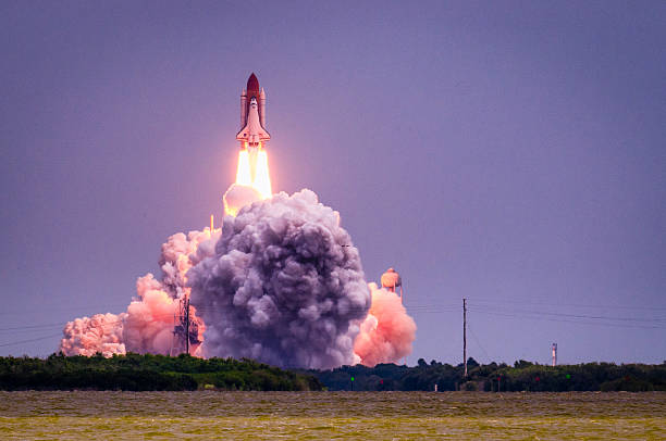 launch of atlantis-sts-135 - space exploration stock photos and pictures
