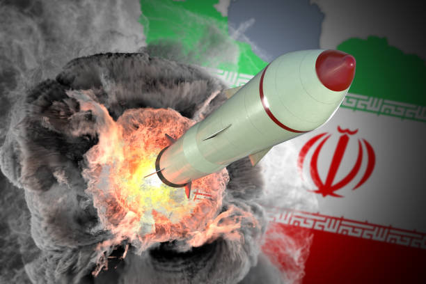 Launch of missile from Iran. 3D rendered illustration. stock photo