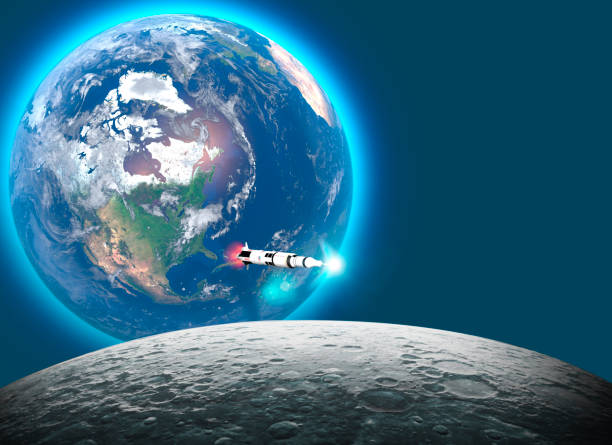 Start der Saturn-V-Rakete Richtung Mond, dem 50. Jahrestag der Mondlandung. Apollo Mission 11. Erde und Mond im All. 3d-Rendering – Foto