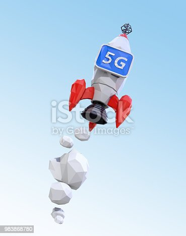 istock Launch polygonal rocket with monitor in blue sky 983868780