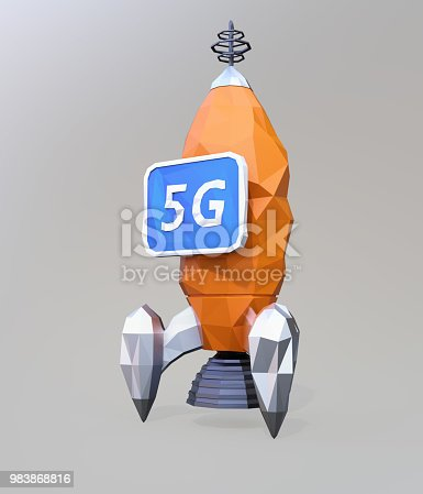 istock Launch polygonal rocket with monitor isolated on gray background 983868816