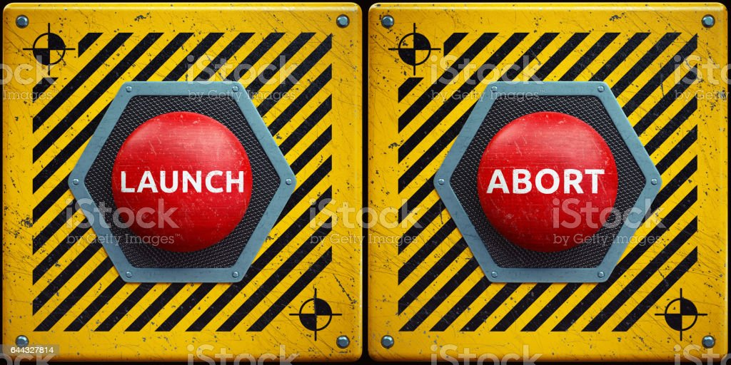 Launch-Abort Red Button Concept stock photo
