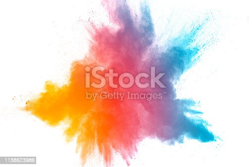 874001870 istock photo Launched colorful powder on black background.Color powder explosion.Colorful dust splashing. 1158623986