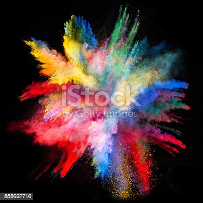 istock Launched colorful powder 858662716