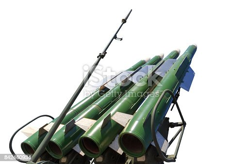 Launcher of the self-propelled system Buk M2 with four missiles isolated on the white background