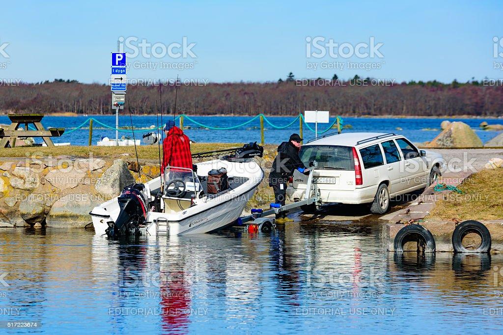 Launching a boat stock photo