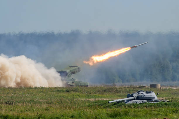 Launching military rockets in the woodlands, war shot defense attack. Launching military rockets in the woodlands, war shot defense attack antiaircraft stock pictures, royalty-free photos & images