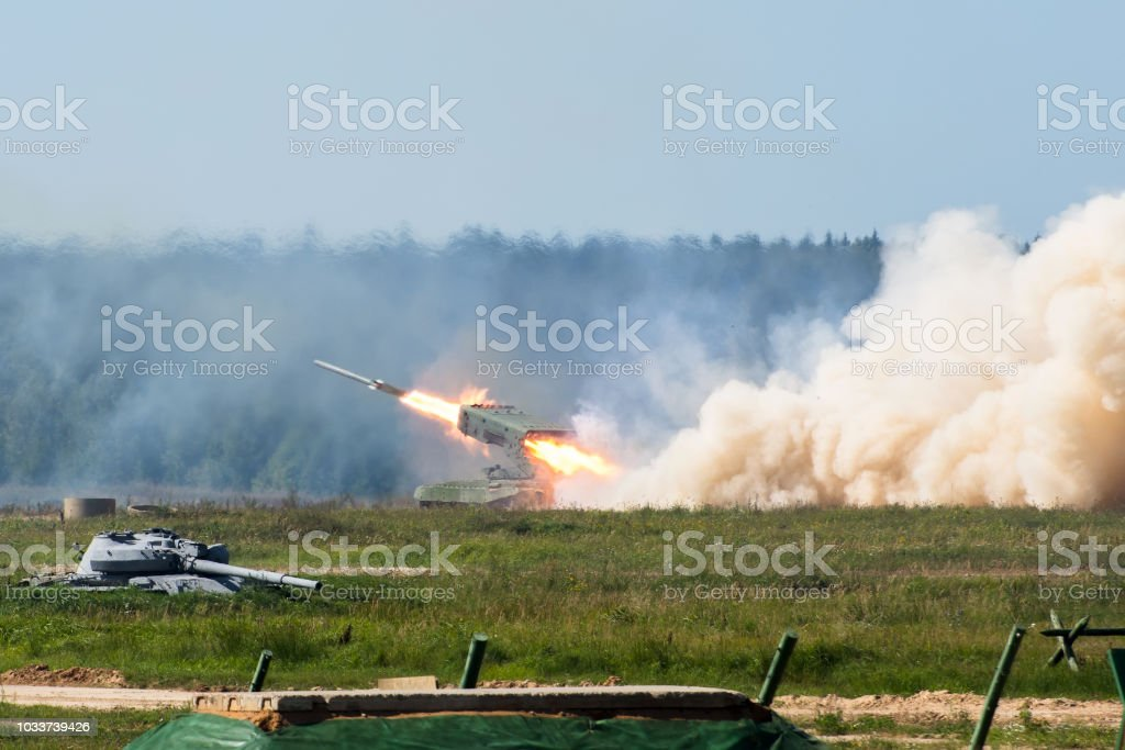 Launching military rockets in the woodlands, war shot defense attack